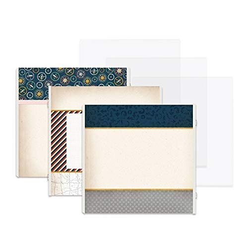 Creative Memories 12x12 Gallivant Travel Dark Blue Fast2Fab Decorated Refill Pages 16/pk & Page Protectors 16/pk