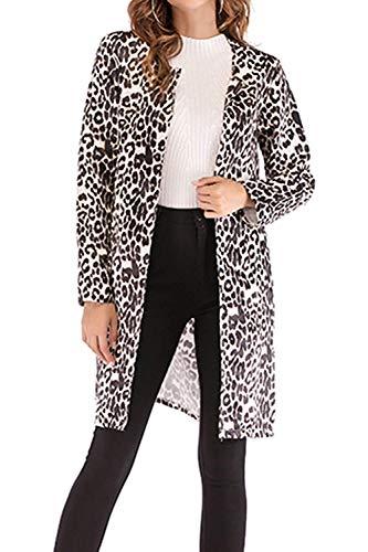 Taille Kaki Kaki L Décontracté coat coloré Hiver Femme Léopard Oudan Imprimé Trench Avant wHv76qz