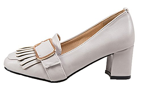 Toe Solid Pull On Women's Pumps PU Heels VogueZone009 Kitten Shoes Gray Square wXORHZg