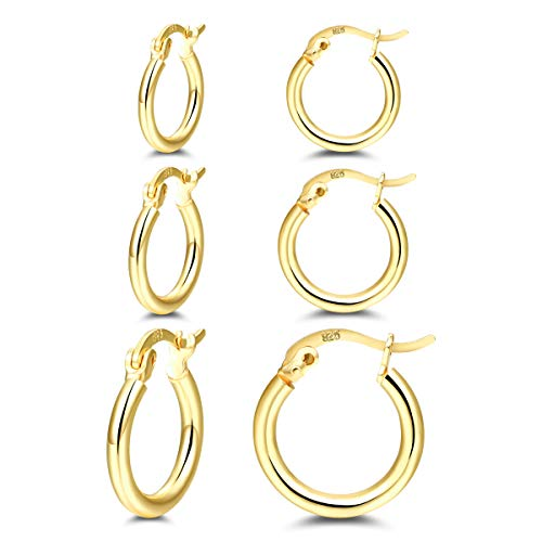 Small Sterling Silver Hoops Earrings - 14K Gold Plated Silver Hoop Earrings Set for Women Girl Gift (3 Pair)