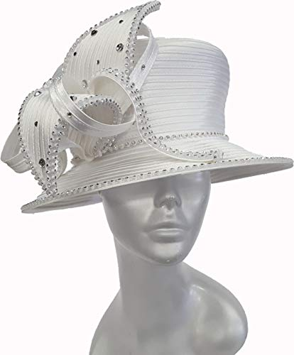 Satin Ribbon Church Hat with Crystal Rhinestones (White)