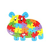 Fishinnen Colorful Wooden Animal Number and Alphabet Jigsaw Puzzle Educational Toy for Kids(Hippopotamus)