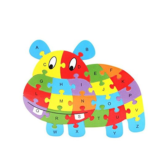 Fishinnen Colorful Wooden Animal Number and Alphabet Jigsaw Puzzle Educational Toy for Kids(Hippopotamus) by Fishinnen (Image #5)