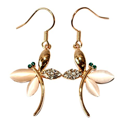 Generic 18k Gold Plated White Crystal Opal Dragonfly Dangle Earrings - Dragonfly Yellow Earrings