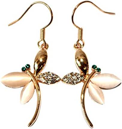 Generic 18k Gold Plated White Crystal Opal Dragonfly Dangle Earrings