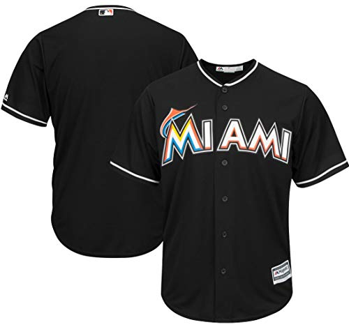 Majestic Miami Marlins MLB Mens Black Cool Base Replica Player Jersey Big & Tall Sizes (4XT)