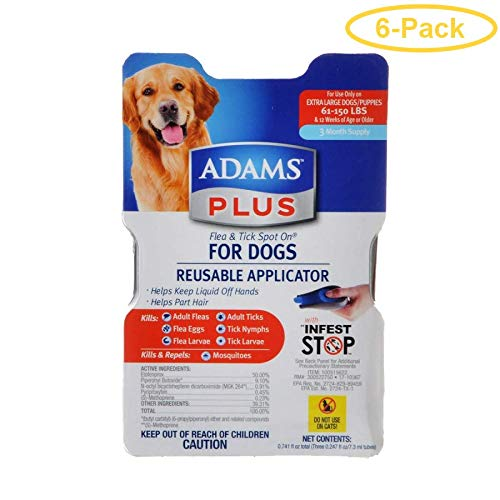 Adams Plus Flea & Tick Spot On for Dogs with Reusable Applicator X-Large - 3 Month Supply - (Dogs 61-150 lbs) - Pack of 6