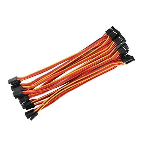 OliYin 20pcs 5.90inch 22awg 60 Cores Male to Male Lead Plug Servo Extension Wire Cable Line for RC Model Aircraft Stranded Futaba JR ()