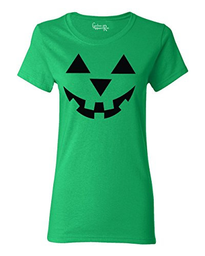 Jack O' Lantern Pumpkin Halloween Costume Womens T-Shirt Kelly Green 2XL ()