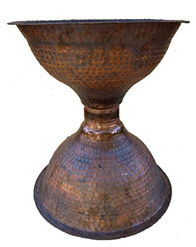 Egypt gift shops Unique Artistic Hand Hammered Heat Treated Pedestal Pure Earthy Copper Urban Country House Sanitary Anti Microbial Bathroom Sink