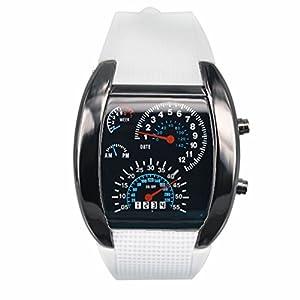 little finger Men LED Sport Wristwatches Rubber Band Digital Week Date Dashboard Pattern Watch