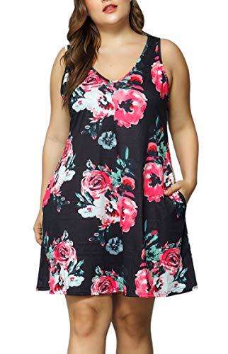 (Women V Neck Sleeveless Floral Print Pocket T Shirt Dresses Plus Size Casual Midi Tank Dress Beach Cover up Sundress (Black, 1X Plus))