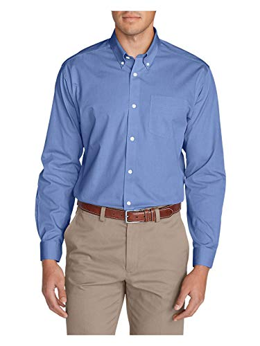 Eddie Bauer Men's Wrinkle-Free Classic FIt Pinpoint Oxford Shirt - Solid, Blue R