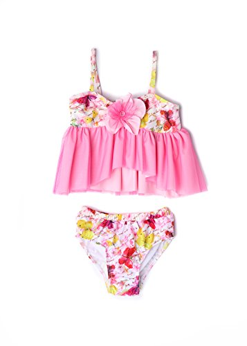 bella and Chloe Baby & Girl Butterfly Tankini 2 Piece Set (2T) (Apple Blossom)