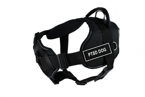 Dean & Tyler Fun Harness with Padded Chest Piece, PTSD Dog, Large, Black with Reflective Trim by Dean & Tyler