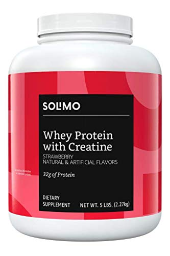 Amazon Brand - Solimo Whey Protein Powder with Creatine, Strawberry, 5 Pound Value Size (44 Servings)