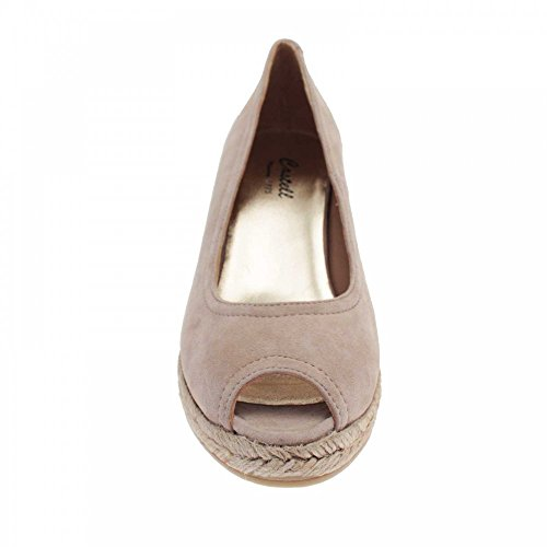 Castell Womens Peep Toe Wedge Court Shoe Beige