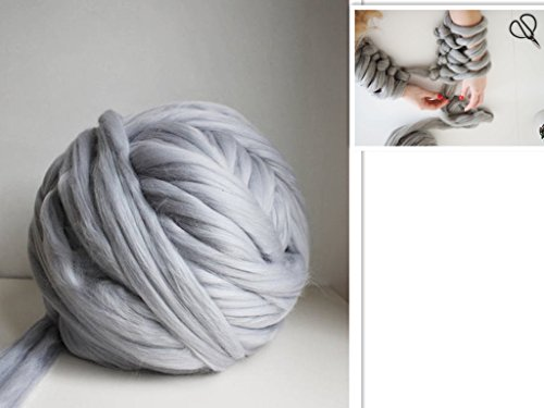 Arm Knitting Yarn Chunky Wool Yarn Bulky Wool Yarn Giant Knit Yarn extreme knitting (1.1lbs/0.5kg, Light Grey)