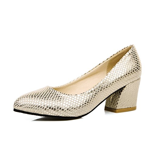 WeenFashion Solid Pull Women's Closed Pumps Kitten Materials On Gold Blend Pointed Heels Toe Shoes 66Zqr0