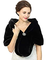 Fstrend Women's Faux Fur Shawls and Wraps Wedding Faux Fox Fur Stole Bridal Fur Scarf for Bride and Bridesmaids