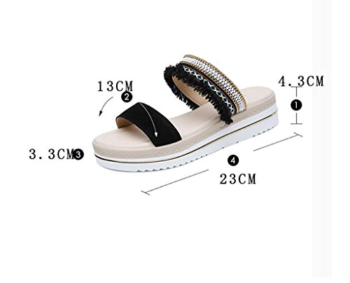 non Flat summer fashion Fashion sandals sandals slip Slipper and sandals female slippers A B wedge sandals Color 40 Size slippers beach Sandals wear and qxfZX8wfY