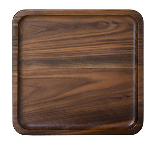 Rustic Walnut Wooden Tray Solid Wood Serving Tray Square Rectangle Platter Tea Tray Coffee Table Tray (Square Large (9 x 9 inch)) ()