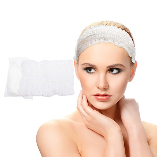 Disposable Headbands Spa Headbands Kicosy 100 Pcs Disposable Headband for Facials Disposable Headband Elastic - Essential Spa Headbands