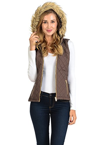 Auliné Collection Womens Quilted Zip Up Lightweight Padding Vest Fur Hood ZP Brown S