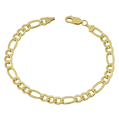 - Kooljewelry 14k Yellow Gold Filled Men's Solid 6mm High Polish Figaro Link Bracelet (8.5 inches)