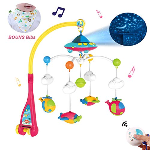 Baby Musical Crib Mobile with Light and 108 Melodies Music Box,Star Projector Function, Remote Control and Hanging Airplane Rattles Rotating,Gift Toy for Newborn