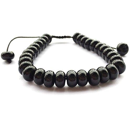 - DOLON 85mm Black Obsidian Abacus Beads Shamballa Bracelet Bangle