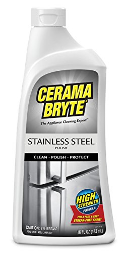 Cerama Bryte Stainless Steel Polish, 16 Ounce, Streak-Free Shine, Clean and Protect, High Strength Formula
