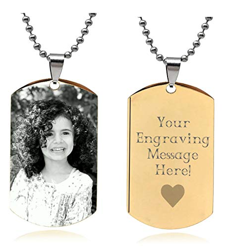 (Interway Trading Personalized Custom Photo High Polished Engraved Dog Tag Necklace Pendant and 24 inch Stainless Steel Chain, Velvet Giftpouch and Keyring )