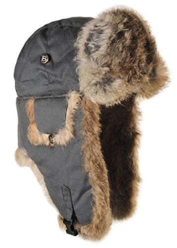 (Mad Bomber Original Grey Aviator Pilot Hat Real Rabbit Fur Trapper Hunting Cap, Medium)