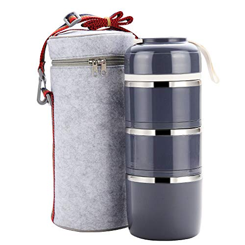 Bento Lunch Box, Portable Stainless Steel Insulated Lunch Box with Lunch Bag, BPA Free Leakproof Food Storage Container.(3Layer, Gray) ()