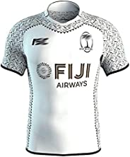 2019 Fiji Home and Away Rugby Jersey Men's Embroidered Training Short Sleeve Rugby Shirt, White/B