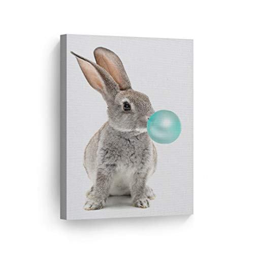 (Bunny Rabbit Animal Decor Bubble Gum Art Turquoise Teal Blue Canvas Print Wall Art Kids Gift Nursery Room Decor Stretched and Ready to Hang- Handmade in The USA - 22x15)