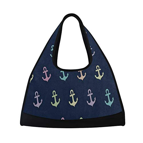 Gym Bag Green Pink Blue Anchor Women Yoga Canvas Duffel Bag