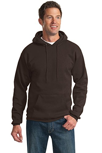 Direct Hooded Pullover - Port & Company Men's Tall Ultimate Pullover Hooded LT Dark Chocolate Brown