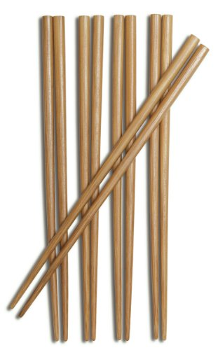 Chopstick Chen Joyce Bamboo Burnished (Joyce Chen 30-0041, Burnished Bamboo Chopsticks, 9-Inch, 5-Pair)