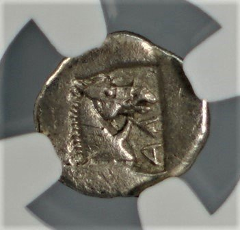 GR 479-460 BC Ancient Greece Thessaly Larissa Antique Greek Silver Coin NGC Rare Coins AR Obol Choice Extremely Fine NGC