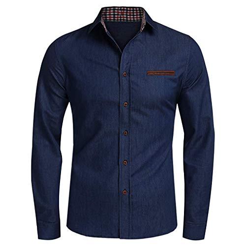 LENXH Men's Shirt Solid Color Tops Simple Shirt Denim Lapel Sweater Long Sleeve Tops Fashion Shirt