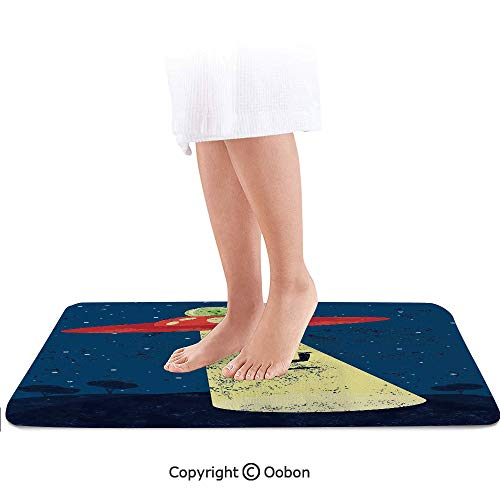 Outer Space Decor Bath Mat,Distressed Graphic of Alien Abduction of Human Science Fiction Image,Plush Bathroom Decor Mat with Non Slip Backing,24 X 17 Inches,Blue Yellow -