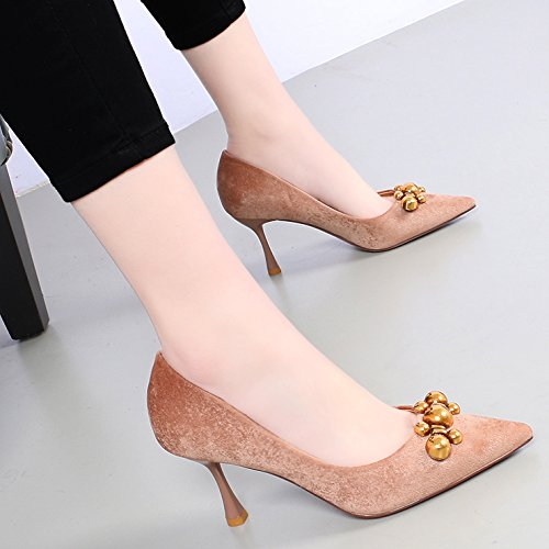 Wild Shoes High Single 7 Metal Heeled Spring Thin Female KPHY Shoes Tip Decorated Color 5Cm raw With Light Velvet Of AxZXTq