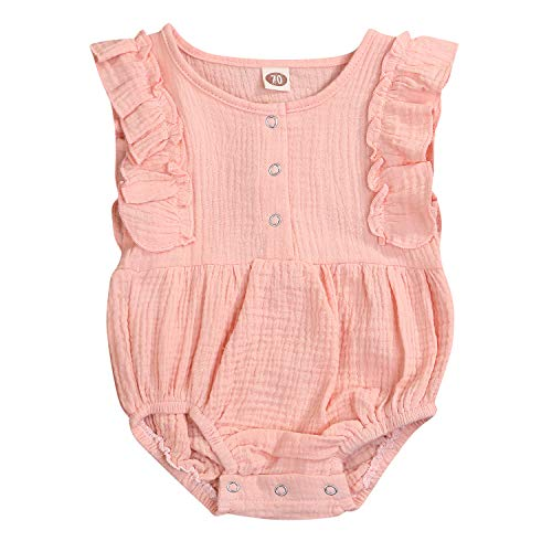 - ZOELNIC Baby Girls Linen Romper Infant Kids Ruffled Sleeveless Summer Onesie Jumpsuit (Pink, 0-3 Months)