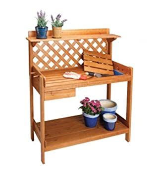 Cedar Wood POTTING BENCH Potters Table W/ Soil Tray U0026 Drawer