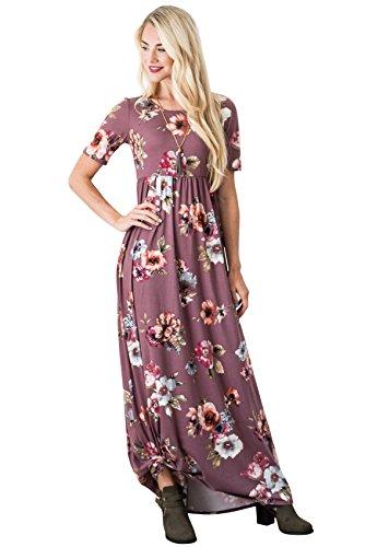 Miranda Modest Maxi Dress in Plum w/Floral Print - XS