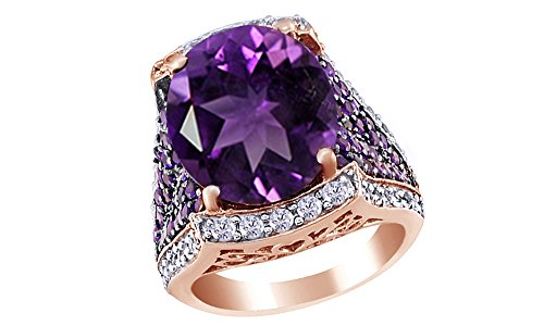 Amethyst & White Cubic Zirconia Cocktail Ring In 14k Rose Gold Over Sterling Silver (8.47 Cttw)