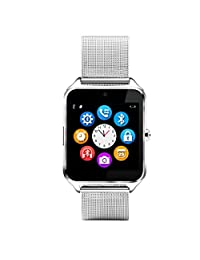 Smart Watch,RabbyRock Bluetooth Smart Watch Touch Screen Cell Phone Watch with SIM TF Card Slot SmartWatch Pedometer Sleep Monitor Remote for IOS & Android (z60 siliver)