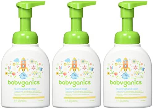 Babyganics Foaming Hand Soap, Fragrance Free, 8 oz Pump Bottle (Pack of 3)